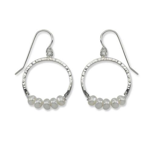 Sterling Silver Full Circle Pearl Gemstone Earrings