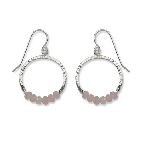 Sterling Silver Full Circle Rose Quartz Gemstone Earrings