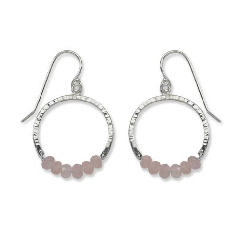 Sterling Silver Full Circle Rose Quartz Gemstone Earrings
