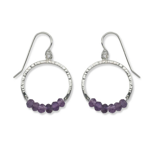 Sterling Silver Full Circle Amethyst Gemstone Earrings