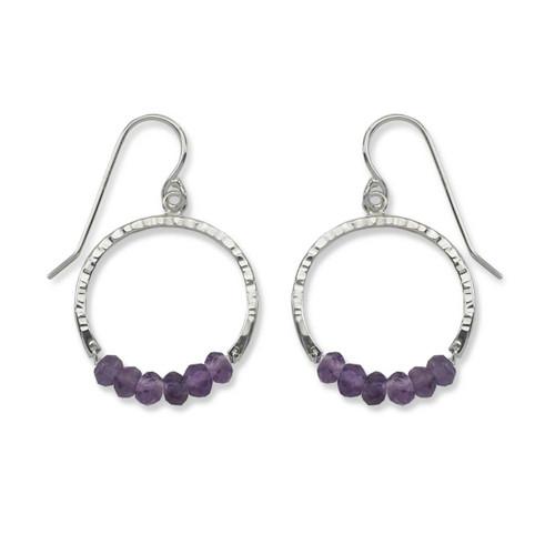 Sterling Silver Full Circle Amethyst Gemstone Earrings