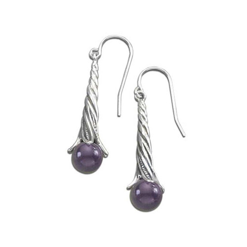 Sterling Silver Amethyst Berry Twist Earrings