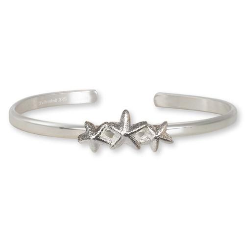 Sterling Silver Starfish Trio Cuff Bracelet