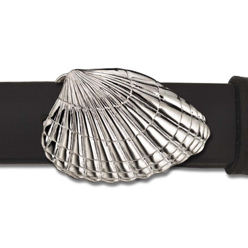 Sterling Silver Clamshell Buckle with Leather Belt