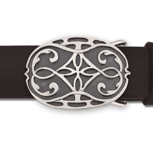 Sterling Silver Avalon Buckle with Leather Belt