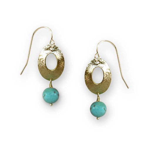 14kt Gold Genuine Turquoise Oval Drop Earrings