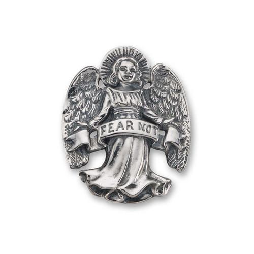 Sterling Silver Fear Not Angel Pin
