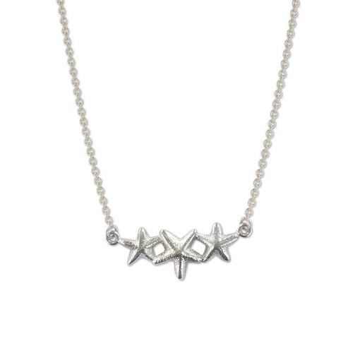 Sterling Silver Starfish Trio Necklace