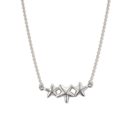 Sterling Silver Starfish Adorn Trio Necklace