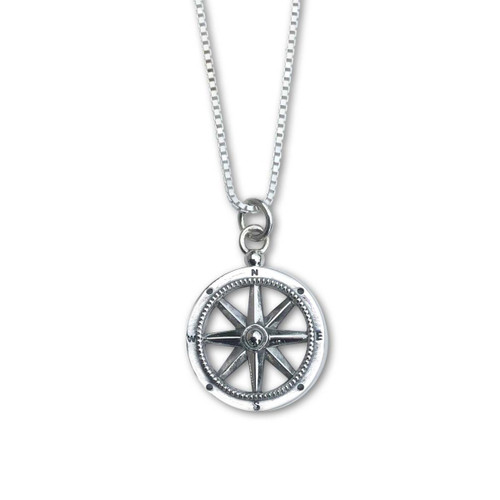 Sterling Silver Stay the Course Compass Pendant