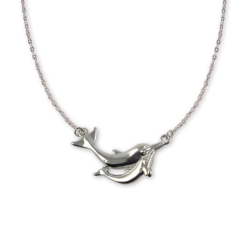 Sterling Silver Swim Lesson Dolphin Necklace