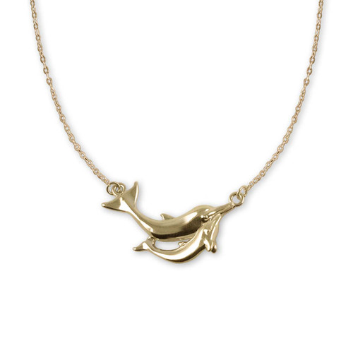 14kt Gold Swim Lesson Dolphin Necklace