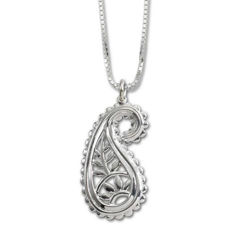 Designer Sterling Silver Taj Pendant with Scalloped Edge