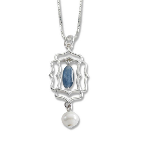 Sterling Silver Mystic Window Genuine Kyanite Freshwater Pearl Pendant