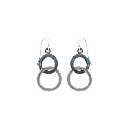Lovely Sterling Silver & Black Patina Circles Earrings