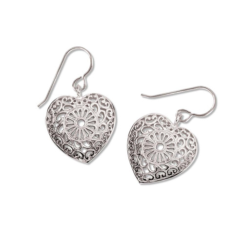 Sterling Silver Victorian Lace Heart Earrings