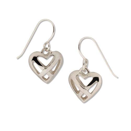 Attractive Sterling Silver Celtic Heart Earrings Accessories