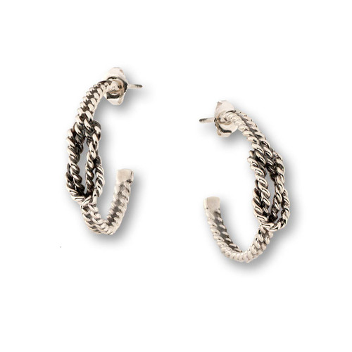Sterling Silver Square Knot Earrings