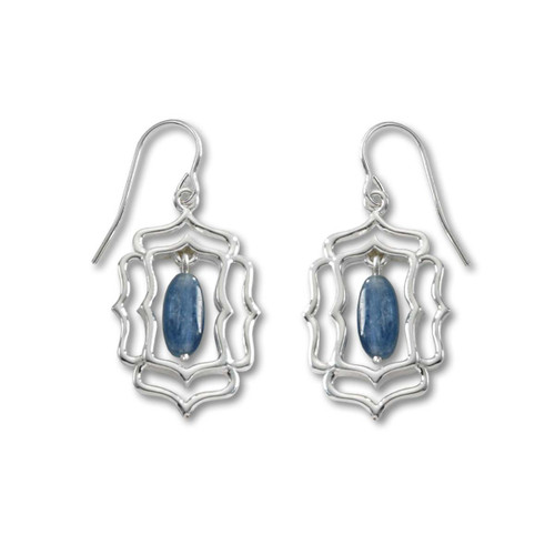Sterling Silver Mystic Window and Kyanite Earrings