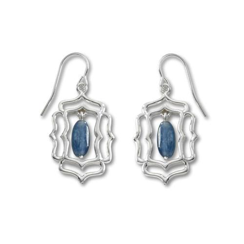 Sterling Silver Mystic Window and Denim Blue Kyanite Earrings
