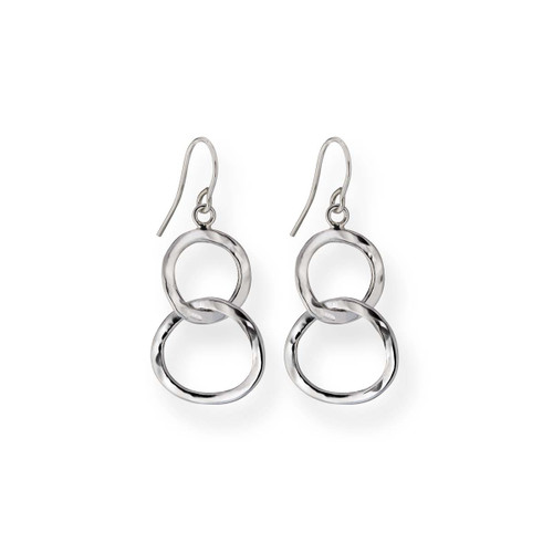 Sterling Silver Sparkling Handcrafted Circles Earrings