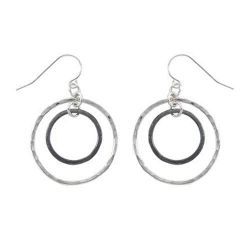 Sterling Silver & Black Patina Inner Circle Hand Hammered Earrings