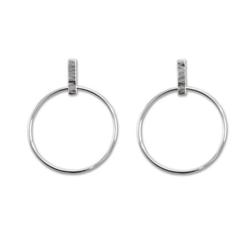 Sterling Silver Hammered Line Hoops