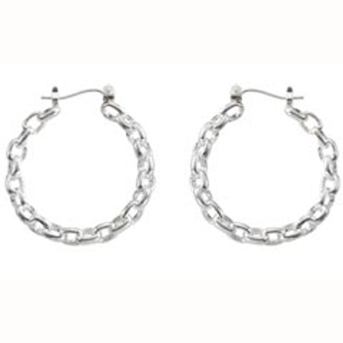 Sterling Silver Locked Links Hoop Earrings