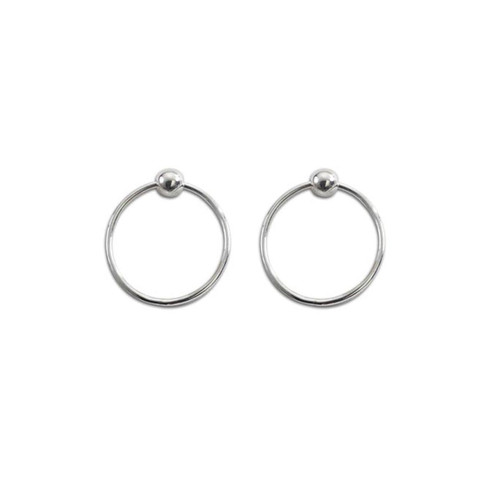 Sterling Silver Floating Circle Polished Ball Earrings