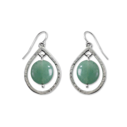 Sterling Silver Floating Stones Earrings with Green Aventurine
