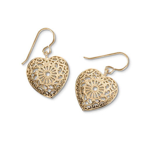 14kt Victorian Lace Heart Earrings