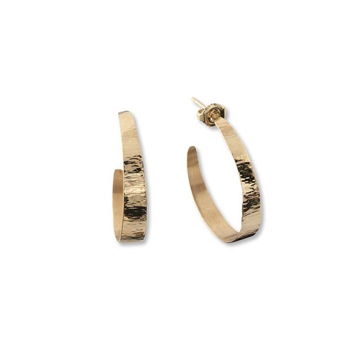 14kt Hand Forged Hoop Earrings