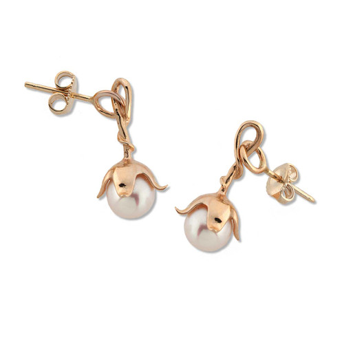 14kt Pearl Blossom Earrings with gold Cap