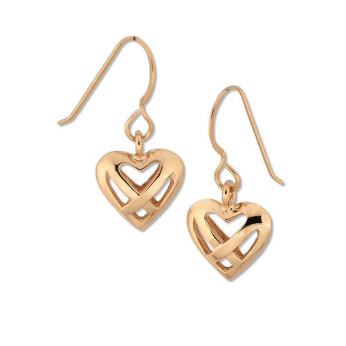 14kt Celtic Heart within Heart Earrings