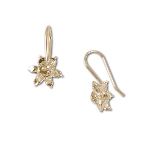 14kt Daffodil Hand Forged Earrings
