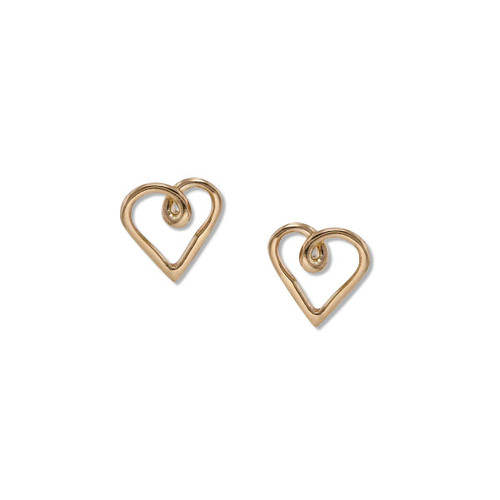 14kt Heart Post Earrings