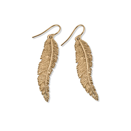14kt Feather Dangle Earrings
