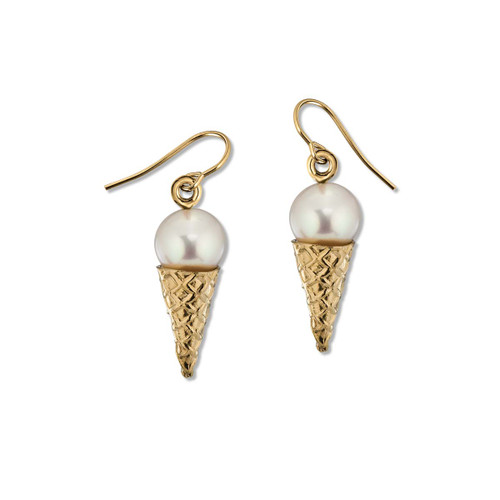 14kt Vanilla Ice Cream Cone Earrings