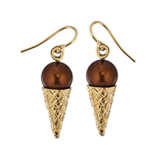 14kt Chocolate Ice Cream Sugar Cone Earrings