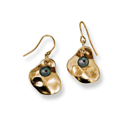 14kt Gold Peacock Pearl Oyster Earrings