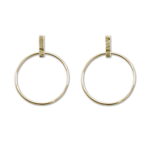 14kt Hand Hammered Line Hoops for a Classic Touch