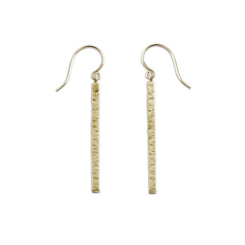 14kt Hammered Bar Earrings