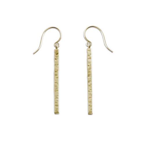 14kt Hammered Bar Earrings in a geometry Shape