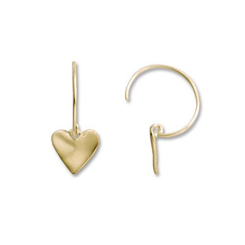 14kt Wavy Heart Earrings on Circle Wire