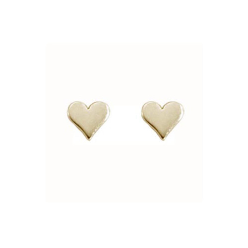 14kt Small Heart Stud Earrings with Polished Finish