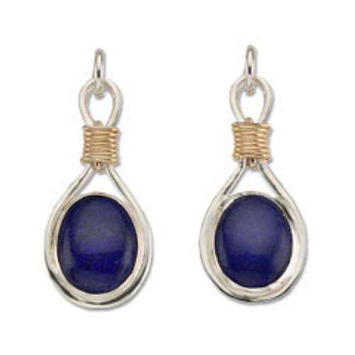 Sterling & 14kt Lapis Lazuli Post Earrings