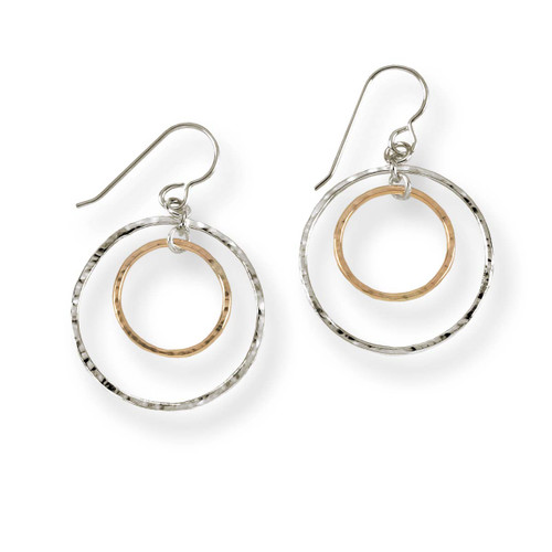 Sterling & 14kt Inner Circle Earrings Captures Light