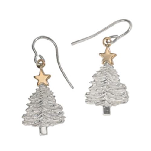 Sterling Silver & 14kt Gold Merry Christmas Tree Earrings