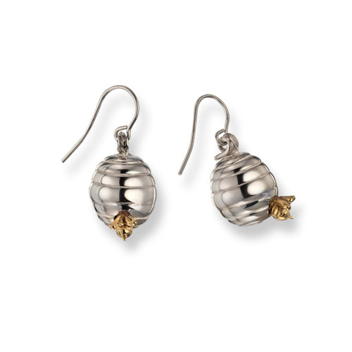 Sterling & 14kt Beehive Dangle Earrings with 14kt Bee