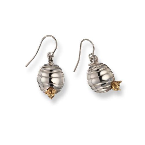 Sterling & 14kt Beehive Dangle Earrings with 14kt Bee
